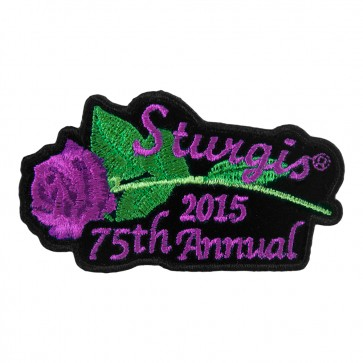 2015 Sturgis 75th Anniversary Black Hills Rally Purple Rose & Stem Event Patch