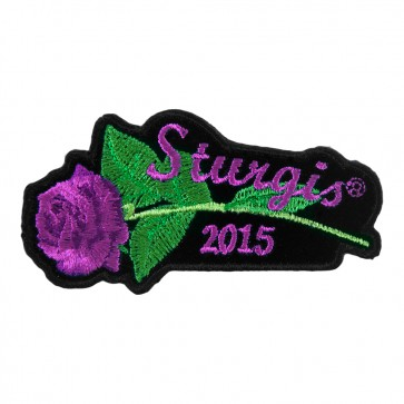2015 Sturgis Black Hills Rally Purple Rose & Stem Embroidered Event Patch