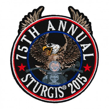 Embroidered 2015 Sturgis 75th Anniversary Riding Eagle Patriotic Event Patch