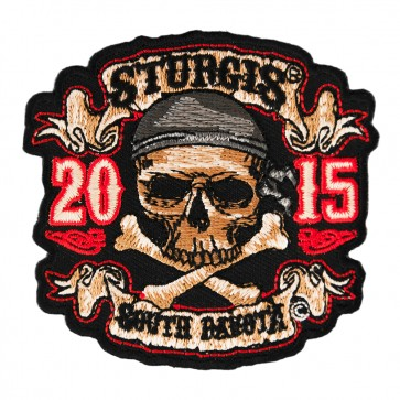 2015 Sturgis Motorcycle Rally Skull & Crossbones Pirate Embroidered Event Patch