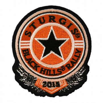 2015 Sturgis 75th Anniversary Black Hills Rally Orange Sheriff Star Embroidered Event Patch