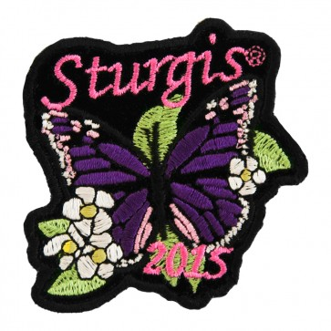 2015 Sturgis Motorcycle Rally Purple Butterfly Flowered Embroidered Event Patch