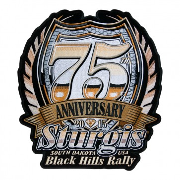 2015 Sturgis Black Hills Rally 75th Anniversary Gold Shield Sew On & Iron On Event Patch