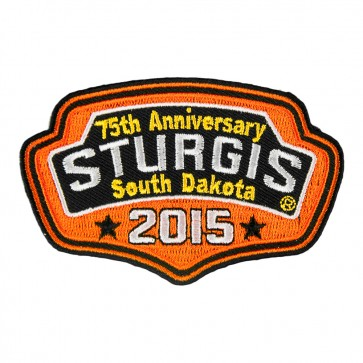2015 Sturgis 75th Anniversary Black Hills Rally Orange Plaque Iron On Event Patch
