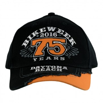 75th Anniversary 2016 Daytona Beach Bike Week Black & Orange Winged Event Cap
