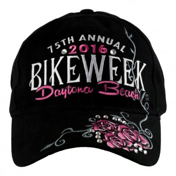 2016 Daytona Beach Bike Week Pink Rhinestone Roses embroidered Event Hat