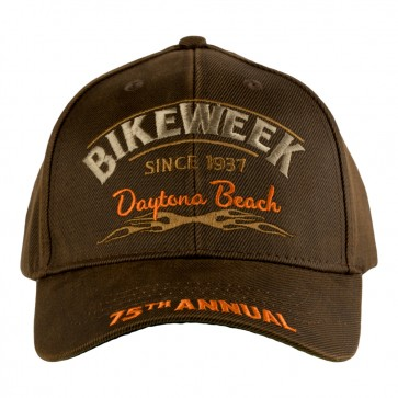 2016 Daytona Beach Bike Week 75th Annual Tribal Flames Brown & Orange Event Cap