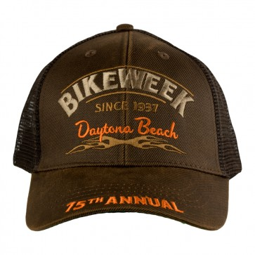 75th Annual 2016 Daytona Beach Bike Week Tribal Flames Brown Mesh Event Cap