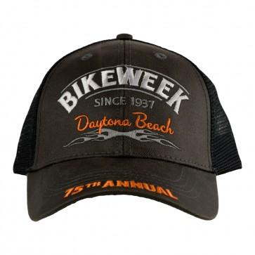 75th Annual 2016 Daytona Beach Bike Week Subdued Grey Mesh Tribal Flames Event Cap