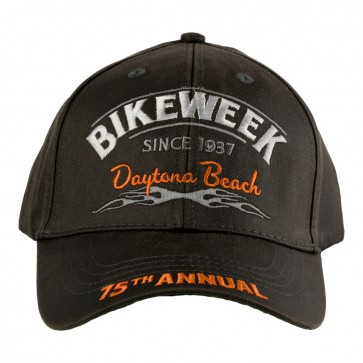 75th Anniversary Daytona Beach Bike Week Subdued Grey Tribal Flames Event Cap