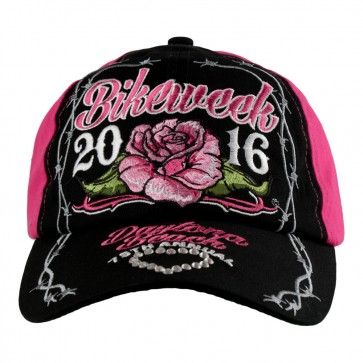 Embroidered 2016 Daytona Beach Bike Week Rose & Barb Wire Rhinestone Event Cap