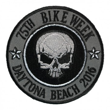 2016 Daytona Bike Week 75th Grey Skull Round Event Patch