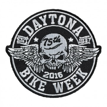 2016 Daytona Bike Week 75th Winged Skull Black & White Event Patch