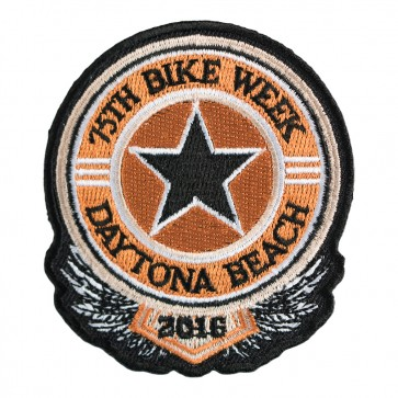 2016 Daytona Bike Week 75th Sheriff Star Black & Orange Event Patch