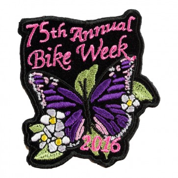 2016 Daytona Bike Week 75th Purple Butterfly Flowered Event Patch