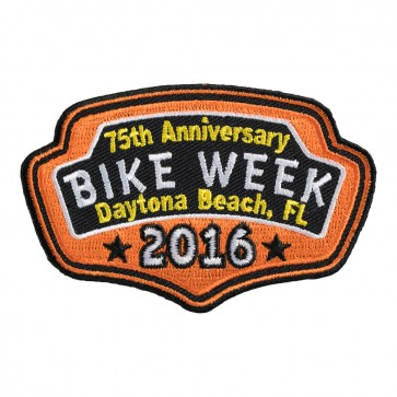 2016 Daytona Bike Week 75th Anniversary Orange Plaque Event Patch
