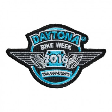 2016 Daytona Bike Week 75th Anniversary Blue & White Wings Event Patch