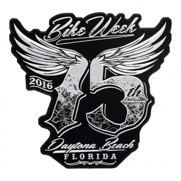 2016 Daytona Bike Week Embroidered Winged 75th Black & White Event Patch