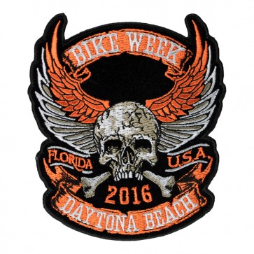 Embroidered 2016 Daytona Bike Week Winged Skull Crossbones 75th Anniversary Event Patch