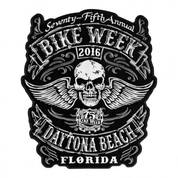 Embroidered 2016 Daytona Bike Week Winged Skull 75th Anniversary Event Patch