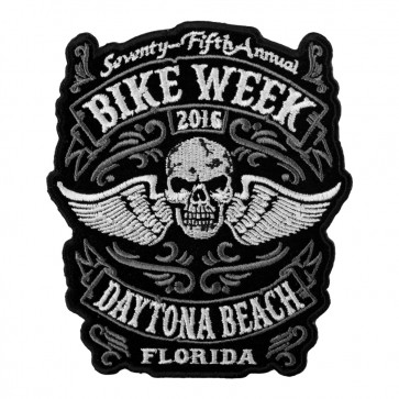 Embroidered Daytona Bike Week Winged Skull 75th Anniversary Event Patch