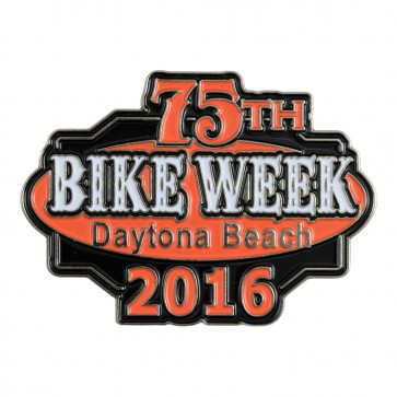 Metallic 2016 Daytona Beach 75th Bike Week Orange & Black Event Pin
