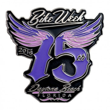 Metallic 2016 Daytona Bike Week Pink & Purple Winged 75th Event Pin