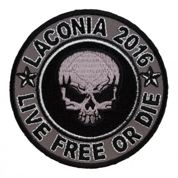 93rd Annual Laconia Grey Skull Round Embroidered Event Patch