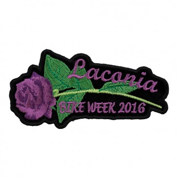 2016 Laconia Purple Rose & Stem Sew On Event Patch