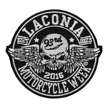 2016 Laconia Winged Skull Black & White Embroidered Event Patch