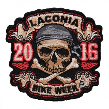 2016 Laconia Skull & Crossbones Pirate Embroidered Anniversary Patch