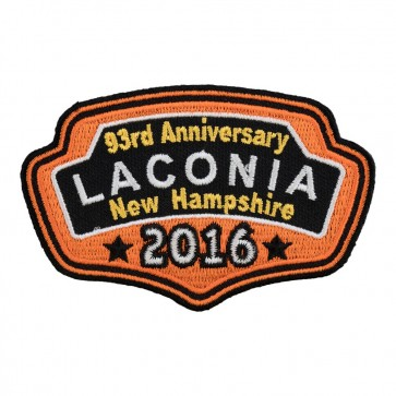 Embroidered 2016 Laconia Orange Plaque Event Patch