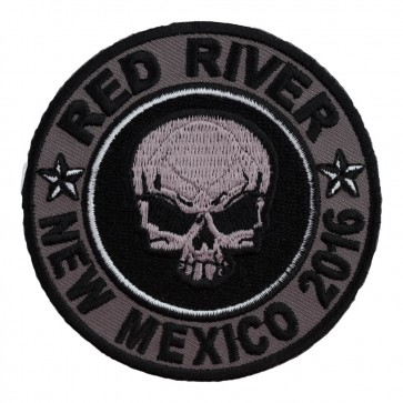Sew On 2016 Red River Grey Skull Round Event Patch