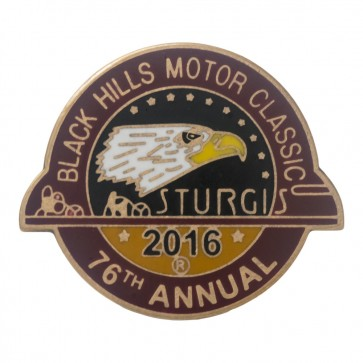Official Sturgis 2016 Black Hills Motor Classic Eagle Circular Event Pin