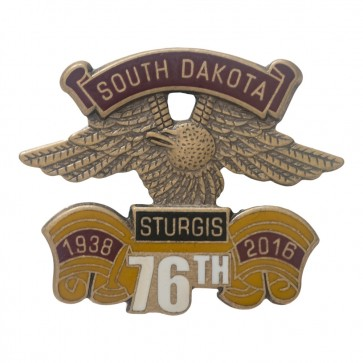 Official Sturgis 2016 Eagle Wing 76th Annual Metallic Event Pin