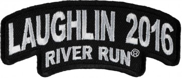 34th Anniversary 2016 Laughlin River Run Stacked White Rocker Event Patch