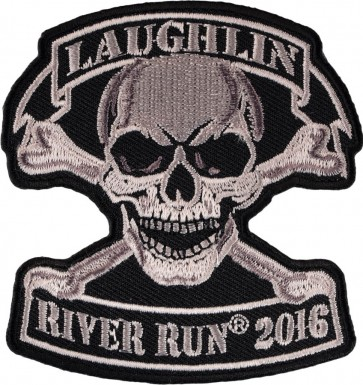 Embroidered 2016 Laughlin River Run Tan Skull & Crossbones Event Patch