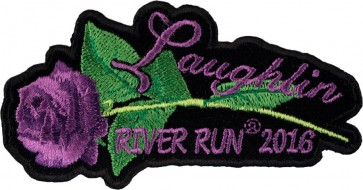 Embroidered 2016 Laughlin River Run Purple Rose & Stem Event Patch