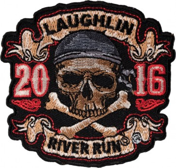 Embroidered 2016 Laughlin River Run Skull & Crossbones Pirate Event Patch