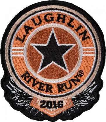 2016 Laughlin River Run Sheriff Star Black & Orange Sew On & Iron On Event Patch