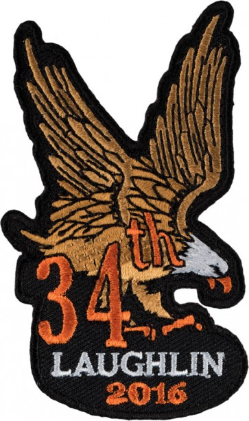 Iron On 2016 Laughlin Brown & Orange Side Wing Eagle Event Patch
