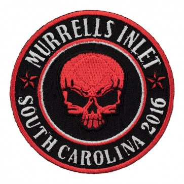 Embroidered 2016 Murrells Inlet Red Skull Round Event Patch