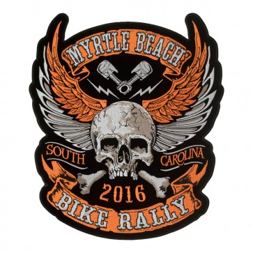 Embroidered 2016 Myrtle Beach Orange Winged Skull Crossbones Event Patch