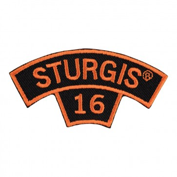 2016 Sturgis 76th Anniversary Motorcycle Rally Orange Tab Rocker Sew On Event Patch