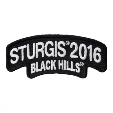 Embroidered 2016 Sturgis Black Hills Rally White Rocker Event Patch
