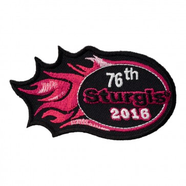2016 Sturgis 76th Motorcycle Rally Pink Flames Embroidered Event Patch