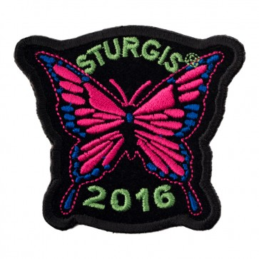 Embroidered 2016 Sturgis Motorcycle Rally Pink Butterfly Event Patch