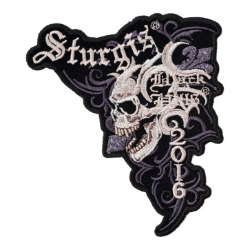 2016 Sturgis Black Hills Rally Marble Skull Embroidered Event Patch