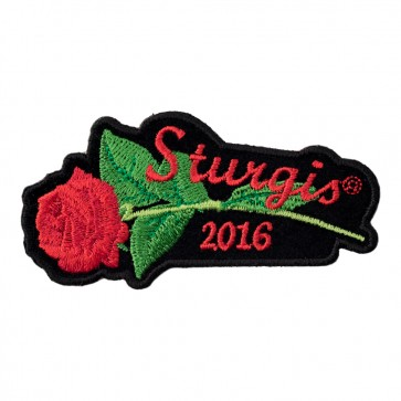 2016 Sturgis Motorcycle Rally Red Rose & Stem Sew On & Iron On Event Patch