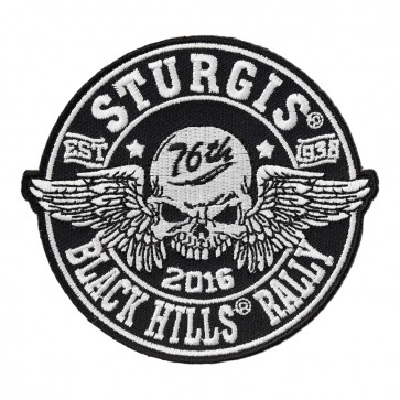 2016 Sturgis 76th Annual Black Hills Rally Winged Skull Sew On Event Patch